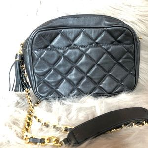 Giani Bernini Black Quilted Leather Camera Bag
